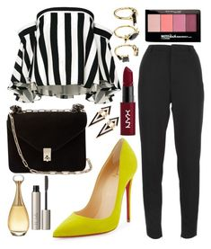 """""""Untitled #125"""" by noorkhudir on Polyvore featuring Yves Saint Laurent, Maybelline, Milly, Christian Louboutin, Valentino, Noir Jewelry, NYX, Christian Dior and Ilia"""