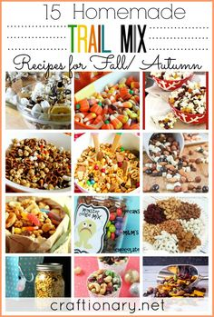 Homemade trail mix recipes with ingredients full of energy for Fall/ Autumn. These healthy snacks are great as Halloween treats and gift ideas also for kids