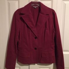 Wine Red Brushed Twill Fitted Blazer Great jacket with great fit. Deep wine red color in a brushed, almost suede like cotton fabric. Front flap pockets, two buttons. Buttons on sleeve cuffs Ann Taylor Jackets & Coats Blazers