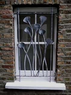 Nick Moran, blacksmith. 'Ginkgo Leaf': window grille for a house in Finsbury Park, London