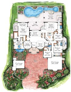 floor plans for outdoor fireplace florida villa house mediterranean
