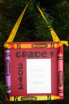 Crayon School Picture Keepsake Frame. Make one for your child every year on the first day of school.
