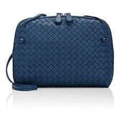 Bottega Veneta Women's Intrecciato Messenger (€1.300) ❤ liked on Polyvore featuring bags, messenger bags, no color, courier bag, bottega veneta messenger bag, blue messenger bag, pattern messenger bag and print bags