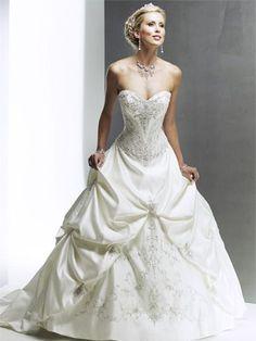 2012 classic Strapless Sweetheart Embroider bodice and hemline taffeta pick ups ball gown Wedding Dress