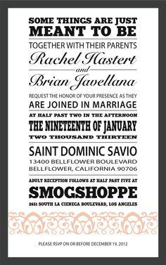 Homemade wedding invites.