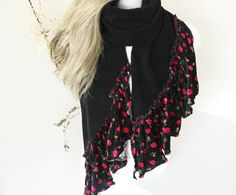 Black scarf Floral velvet scarf Fleece and by Nazcolleccolors