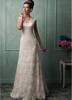 Elegant Tulle V-neck Neckline Natural Waistline A-line Wedding Dress With Lace Appliques