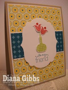 Great spring card from Diana Gibbs' blog, originally designed by Jen, Ladybug Stamper.  Love it!