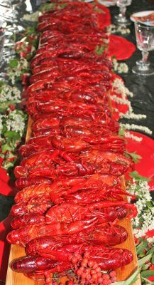 Kraftskiva - Crayfish party.  Piles of crayfish waiting to get cracked open and eaten!