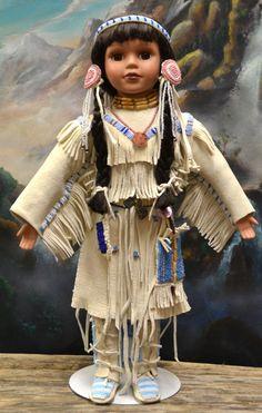 Native American, Plains Indian Doll Handmade, Hand beaded, with Beaded Moccasins, Leggins, Dress, Choker, Hair ties , Bone Beaded Belt. by DreamsCreatedinMt on Etsy
