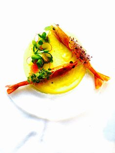 Shrimps, Yellow Carrots Purée, Curcuma, Salmon Roe, Zucchini