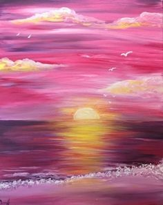 Pink sunset beginner painting idea. Such a pretty painting!