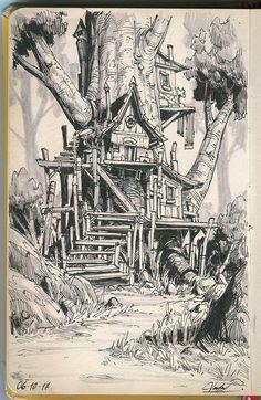 Fantasy Drawings, Pencil Art Drawings, Art Drawings Sketches, Fantasy Art, Drawings Of Buildings, Nature Sketches Pencil, Ink Illustrations, Illustration Art, Arte Indie