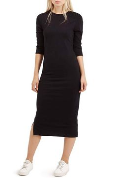 Free shipping and returns on Topshop Side Vent Body-Con Dress at Nordstrom.com. A black midi dress in a slim, streamlined silhouette is finished with crisp side vents at the hem.