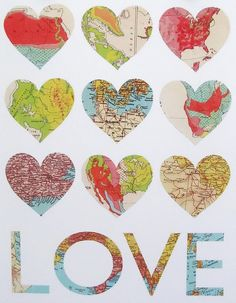 Want to make this. #Map  #art with #hearts.