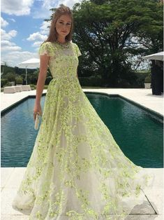 A-Line Jewel Cap Sleeves Floor-Length Daffodil Prom Dress with Appliques $134.99 - Prom Dresses 2018 in Bohoddress.com.