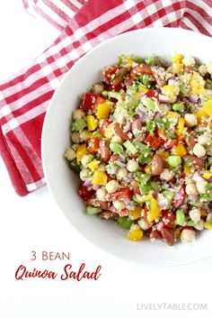 3 Bean Quinoa Salad Recipe  Get plenty of protein, fiber, and whole grains in a healthy and delicious 3 Bean Quinoa Salad! It's great as a side for a summer barbecue or on it's own for a filling lunch. (vegan, gluten free)   LivelyTable.com @LivelyTable
