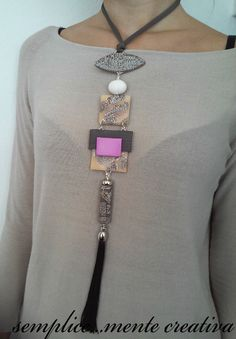 Polymer clay vertical necklace