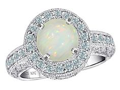 Star K Round Created Opal Ring in Sterling Silver Size Women's, Size: Width: 9 mm Length: 9 mm October Birth Stone, Latest Jewellery, Opal Rings, Anniversary Rings, Diamond Shapes, Ring Designs, Sterling Silver Jewelry, Jewelry Collection, Engagement Rings
