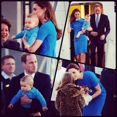 William, Kate & Prince George land in Canberra. Kate in repeat Stella McCartney.