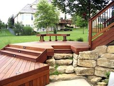 Multi-Level Decks and Patios | Multi-level Ipe deck with landscaping
