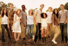 From left to right: Clove, Marvel, Foxface, Thresh, Glimmer, Cato, Rue, Peeta, Katniss, Gale
