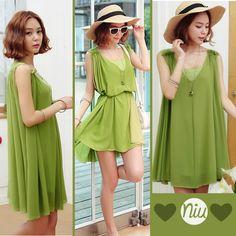 Un vestido verde que puedes lucir de dos maneras :) encuentra esto y mucho más en: www.niuenlinea.co