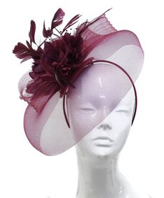 2531d9b797eaa Big Burgundy Beige Fascinator Hat Veil Net Hair Clip Ascot Derby Races  Wedding Headband Feather Flower