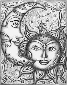 The Moon and The Sun ~ Celestial Art Sun Moon Stars, Sun And Stars, Art Soleil, Art Fantaisiste, Sun Art, Pics Art, Whimsical Art, Illustrations, Zentangles
