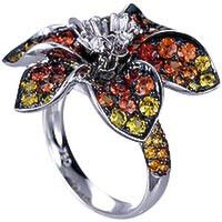 18k white gold ring set with orange sapphire spessortite and diamonds