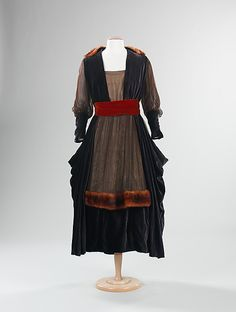 Dress, Evening  Marguerite Date: ca. 1915 Culture: American Medium: silk, fur