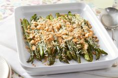 Easy Creamy Baked Asparagus combines elegant asparagus with a crunchy RITZ Cracker topping.