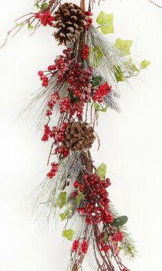 Frosted Pine with Clumps of Red Berry Garland  - Hang or drape on mantel, railing or places you want to add holiday charm  Link    #Christmas