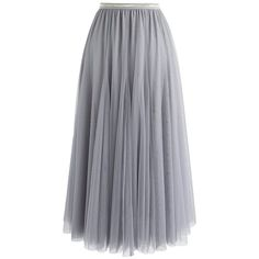 Chicwish My Secret Weapon Tulle Maxi Skirt in Grey (87 BGN) ❤ liked on Polyvore featuring skirts, grey, long gray skirt, gray maxi skirt, chicwish maxi skirt, gray skirt and grey tulle skirt