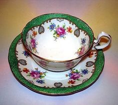 Stunning Green Border & Floral Aynsley Tea Cup and Saucer Set