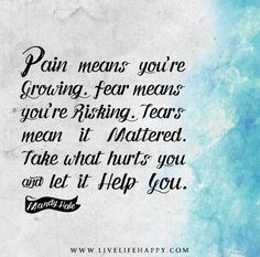 """Pain means you're growing. Fear means you're risking. Tears mean it mattered. Take what hurts you and let it help you."" - Mandy Hale"