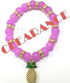 Pineapple Beaded Bracelet Pink and Fuchsia 8mm by RandRsWristCandy $5