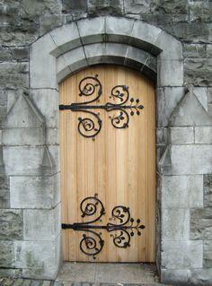 Arched portal, detail of iron work, cute castle door--Dublin, Ireland Door Entryway, Entrance Doors, Doorway, Door Hinges, Door Knockers, Door Knobs, Cool Doors, Unique Doors, Portal