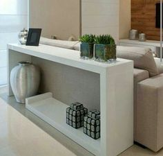 great to have a sofa table as something more attractive than the back of the sofa Home Living Room, Living Room Designs, Living Room Decor, Furniture Design, Sweet Home, House Design, Interior Design, Home Decor, Oppa Design