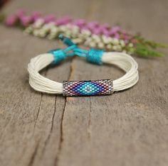 Organic linen bracelet ethnic colorful bracelet multistrand crochet low cut cover up Bead Loom Patterns, Beaded Jewelry Patterns, Bracelet Patterns, Bead Loom Bracelets, Bracelet Crafts, Beadwork Designs, Colorful Bracelets, Simple Jewelry, Loom Beading