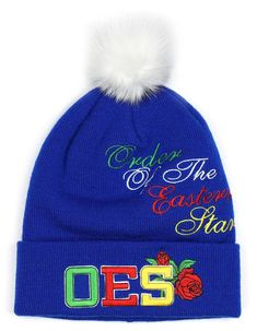 641cfa5b3a142 Order of the Eastern Star OES Pom Beanie- Blue - Brothers and Sisters  Greek