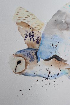 original watercolor painting barn owl painting от paintingbyZofiaL