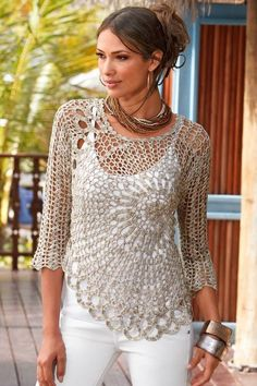 Gorgeous Free crochet pattern for ladies top - saw this on one of the girls in the office and it's FAB!! http://www.craft-craft.net/crochet-lace-beauty-dress-girl.html: