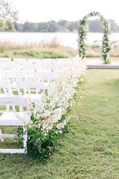Floral ceremony arch and ceremony floral decor for outdoor garden wedding - Courtney Inghram Richmond Virginia Wedding Florist, Outdoor Blush Fall Wedding #ceremonyarch #weddingflowers #virginiaweddingflorist