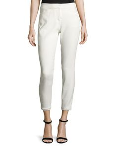 Halston Heritage Woman Stretch-knit Tapered Pants White Size 10 Halston Heritage nPNiI