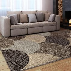 Carolina Weavers Comfy and Cozy Grand Comfort Collection Austral Multi Shag Area Rug (5 ft 3 in x 7 ft 6 in), Beige, Size 5' x 8' (Polypropylene, Geometric)