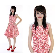 Vintage 50s Dress 60s Bright Red White by neonthreadsdesigns, $40.00