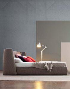Double #bed with upholstered headboard BASKET by Bonaldo | #design Mauro Lipparini #bedroom @Bonaldo