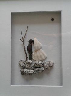 pebble art~wedding f=gift~bride and groom~outdoor wedding~8x10 shadowbox