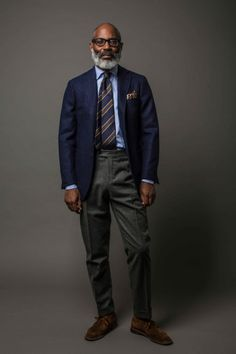 drakes london fw15 - blue blazer and gray flannels